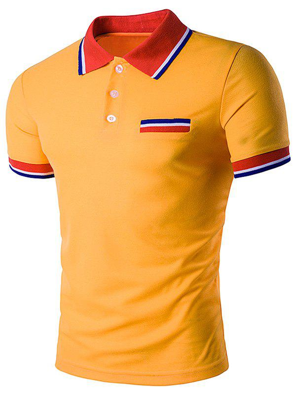 Striped Polo T-Shirt with Fake Pocket - YELLOW M