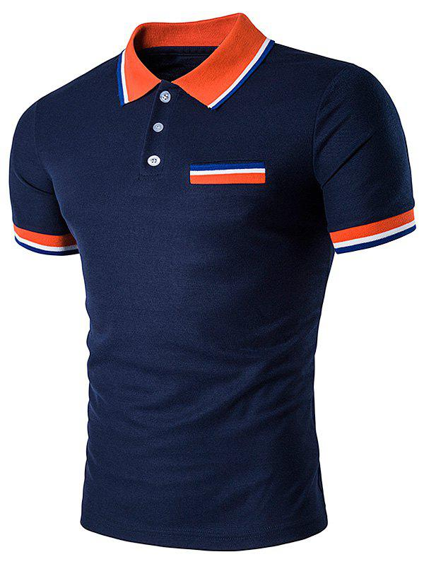 Striped Polo T-Shirt with Fake Pocket футболка мужская t shirt 5445 polo polo