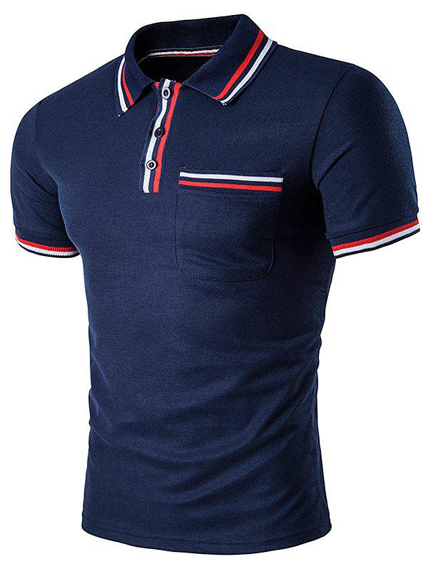 Striped Pocket Embellished Polo T-Shirt - CADETBLUE 2XL