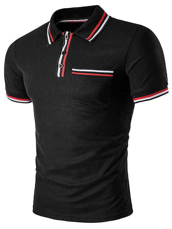 Striped Pocket Embellished Polo T-Shirt - BLACK L