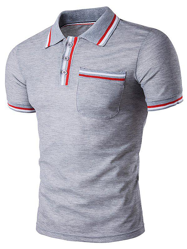 Striped Pocket Embellished Polo T-Shirt - LIGHT GRAY S