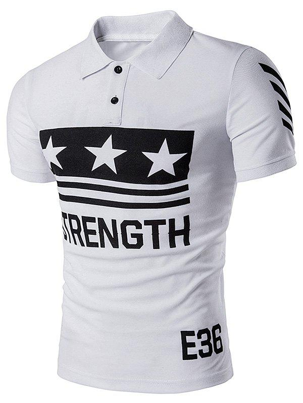 Star Strength Printed Polo T-Shirt - WHITE 2XL