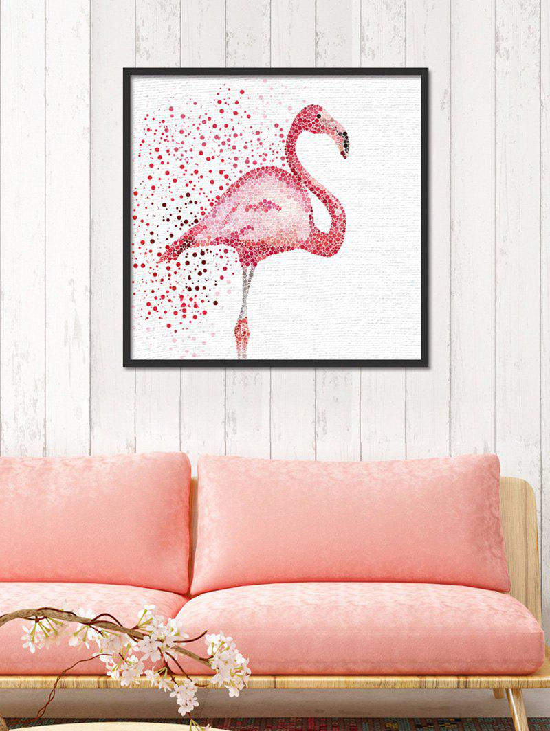 Watercolor Dotted Flamingo Print Canvas Wall Art - RED 30*30CM
