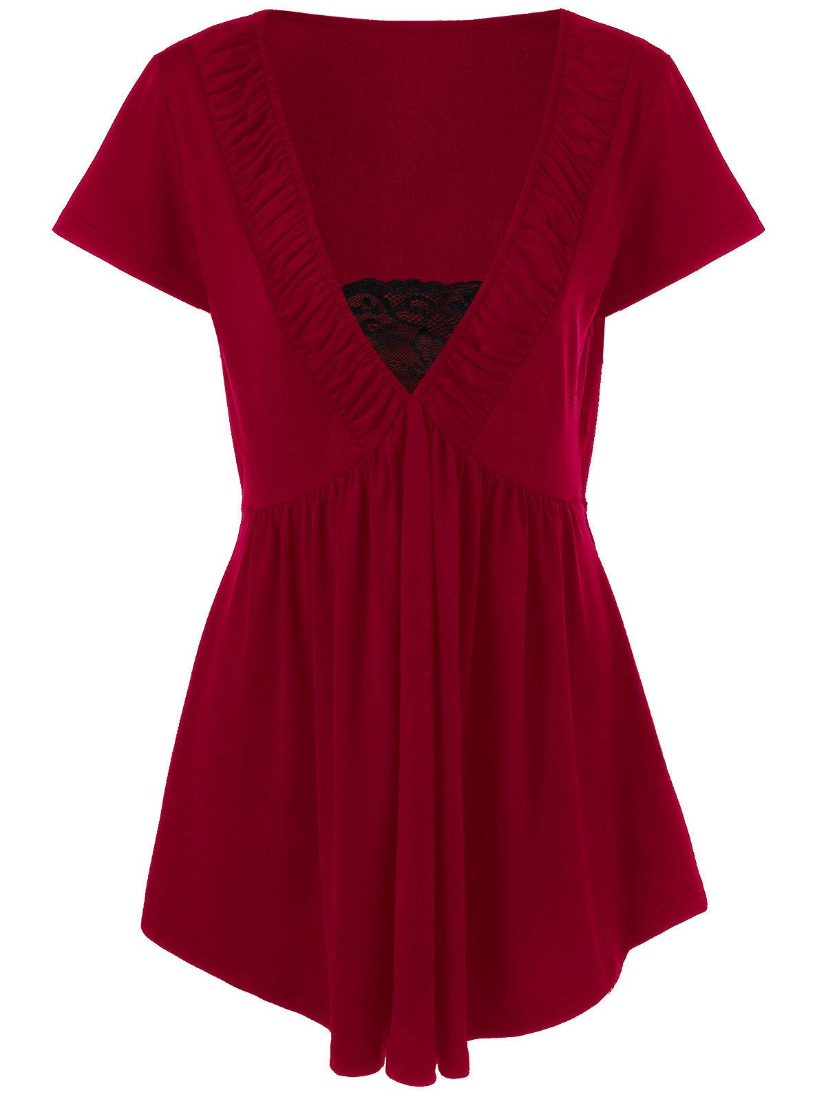 Plus size lace insert empire waist t shirt red xl in for Empire waist t shirt dress