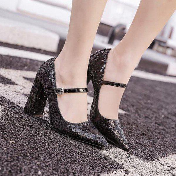 Block Heel Sequined Pumps - BLACK 39
