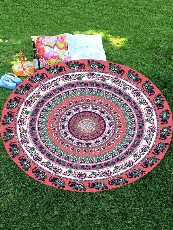 Mousseline Thaïlande Elephant Mandala Plage Round Throw - multicolorcolore