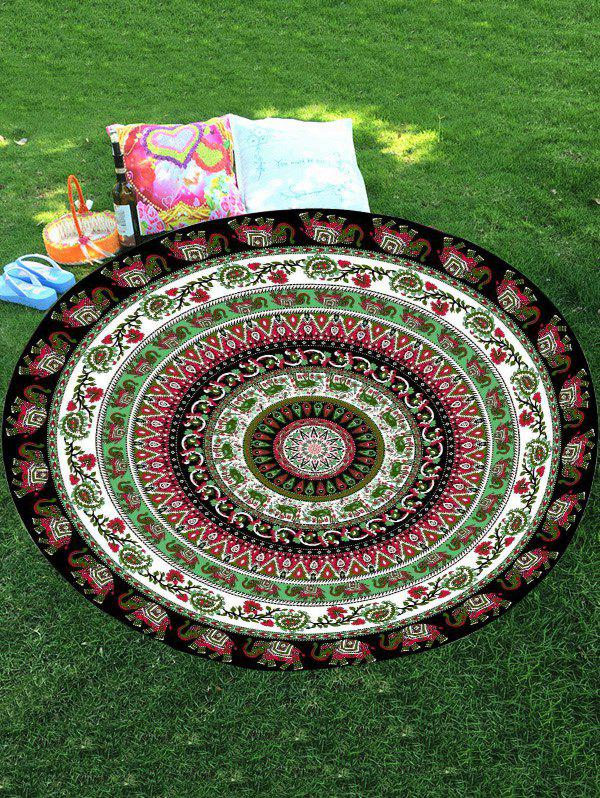 Thailand Celebration Elephant Mandala Round Shaped Beach Throw - COLORMIX