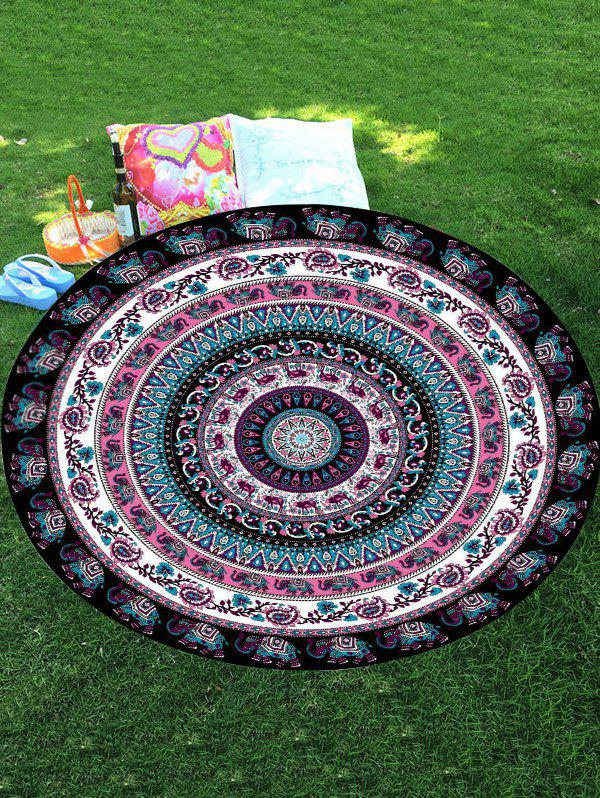 Thailand Elephant Mandala Round Chiffon Beach Throw - COLORMIX