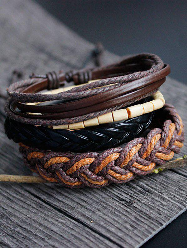 Hand Woven Faux Leather Bamboo Bracelet Set trendy skull woven faux leather bracelet