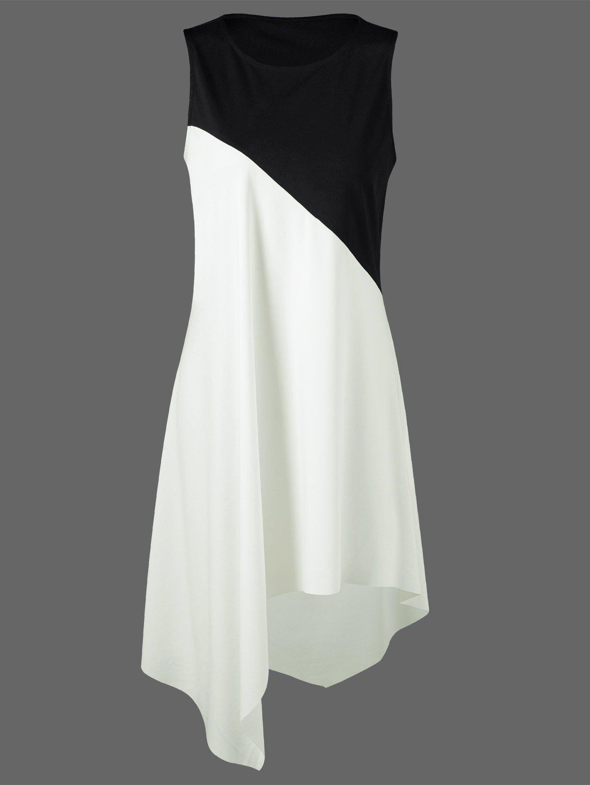 Color Block Swing Sleeveless Casual Dress Boutique - WHITE/BLACK 2XL