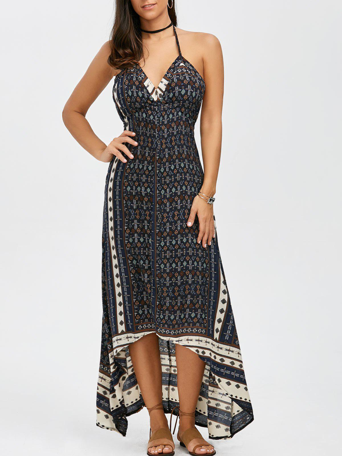 Boho Maxi Halter Low Back Asymmetric Summer Dress, BLUE, XL in ...