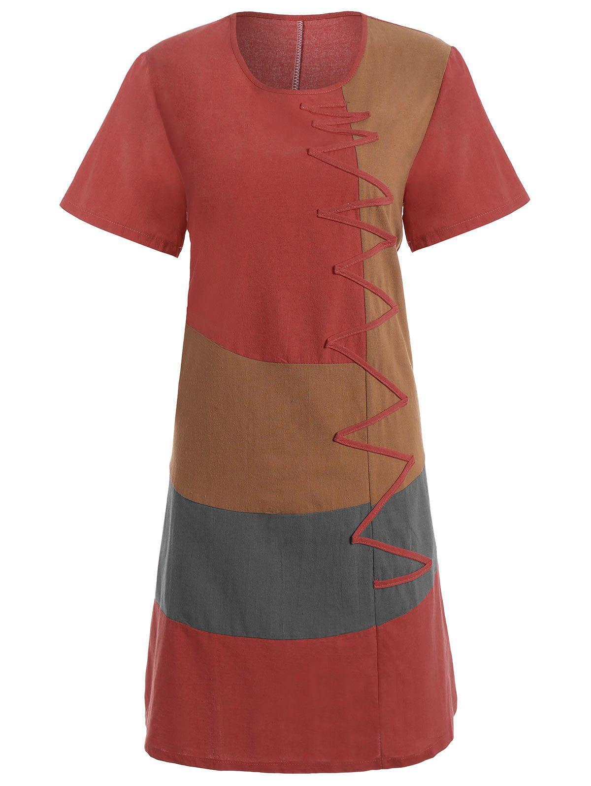 Plus Size Colorblock Embroidered Linen T-Shirt Dress - RED 3XL