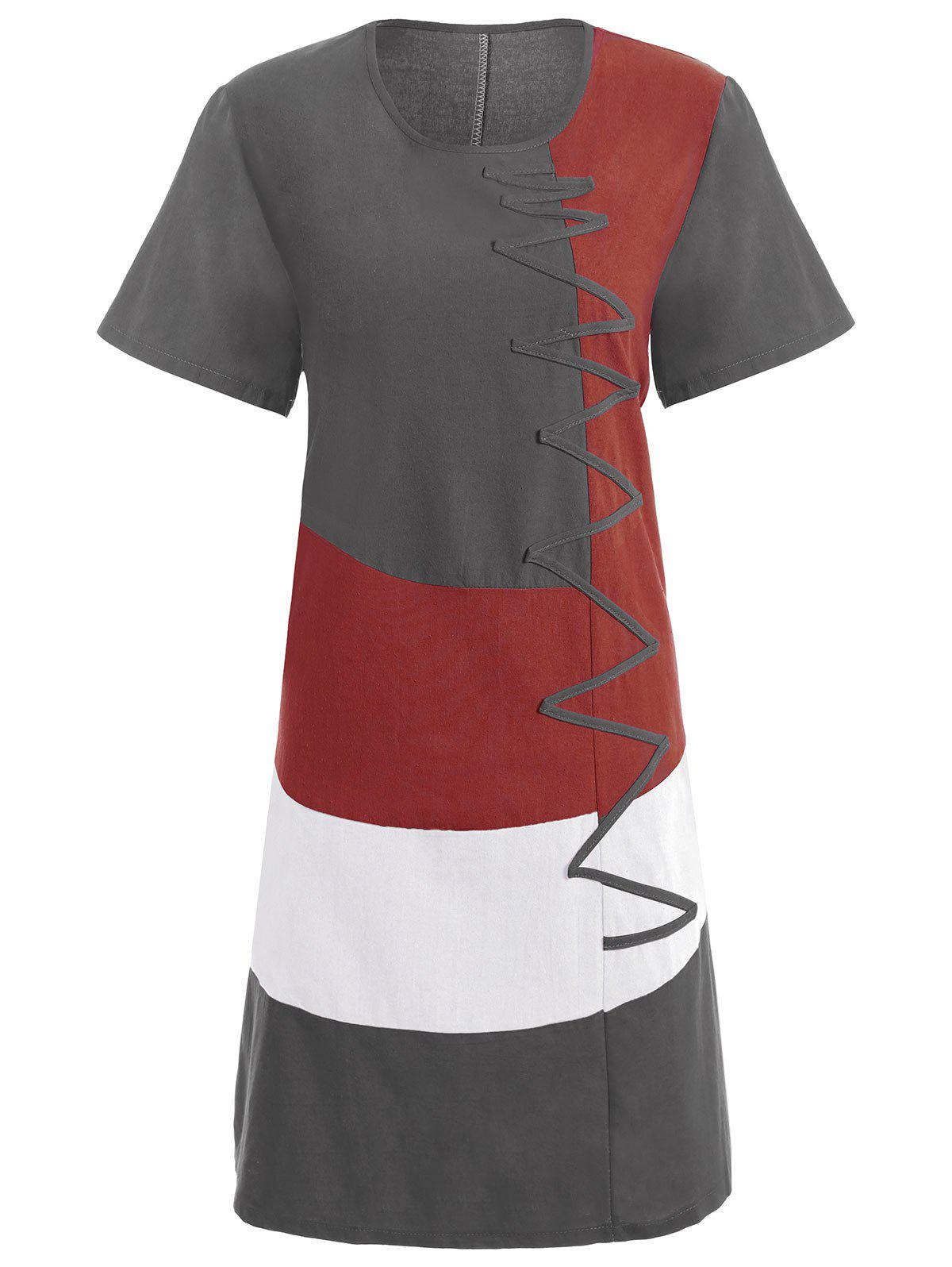 Plus Size Colorblock Embroidered Linen T-Shirt Dress - GRAY 3XL