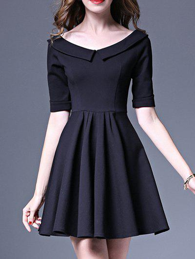 High Waist Mini Fit and Flare Dress - BLACK L