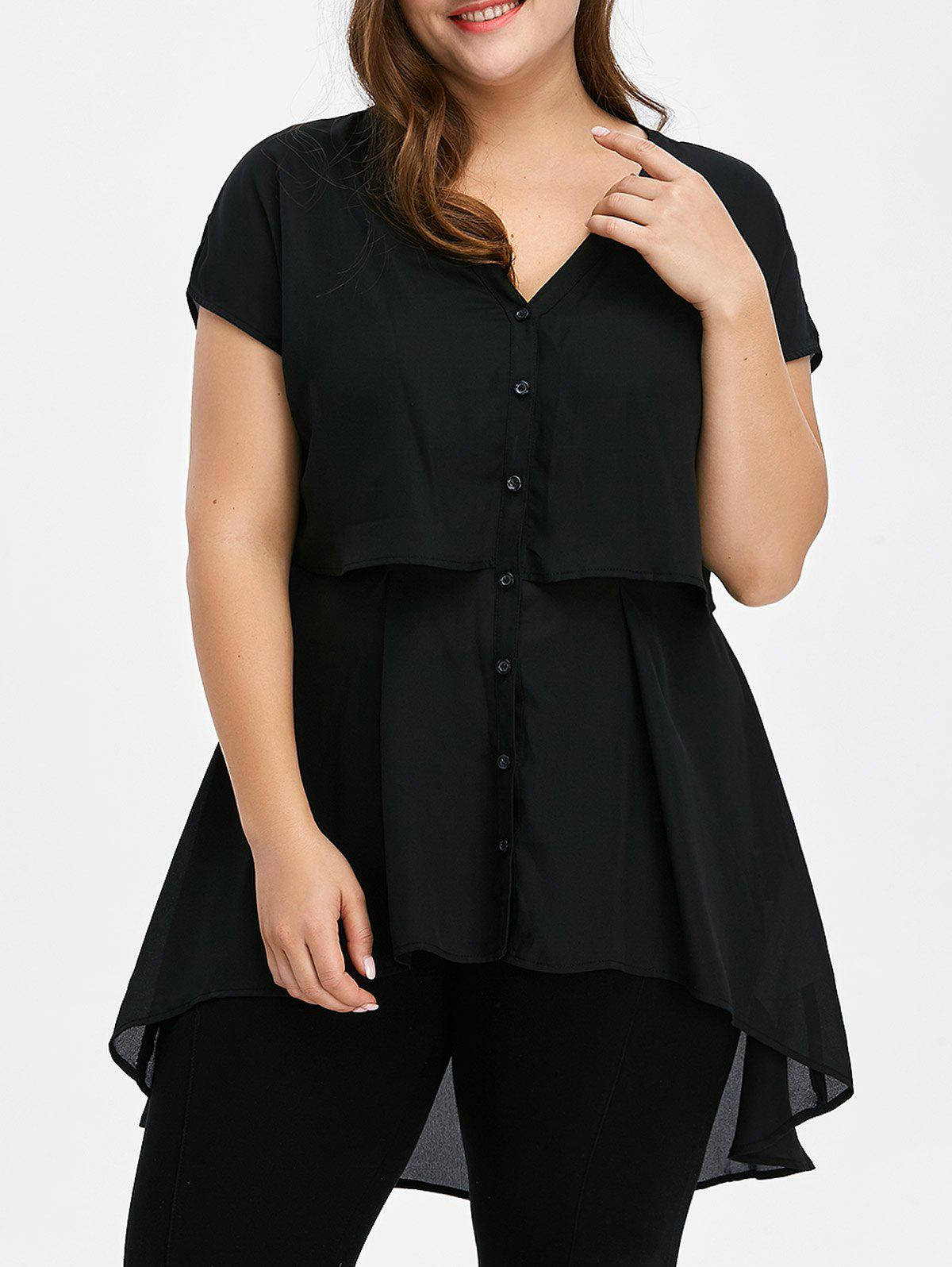 Plus Size Tunic Chiffon Top - BLACK 5XL