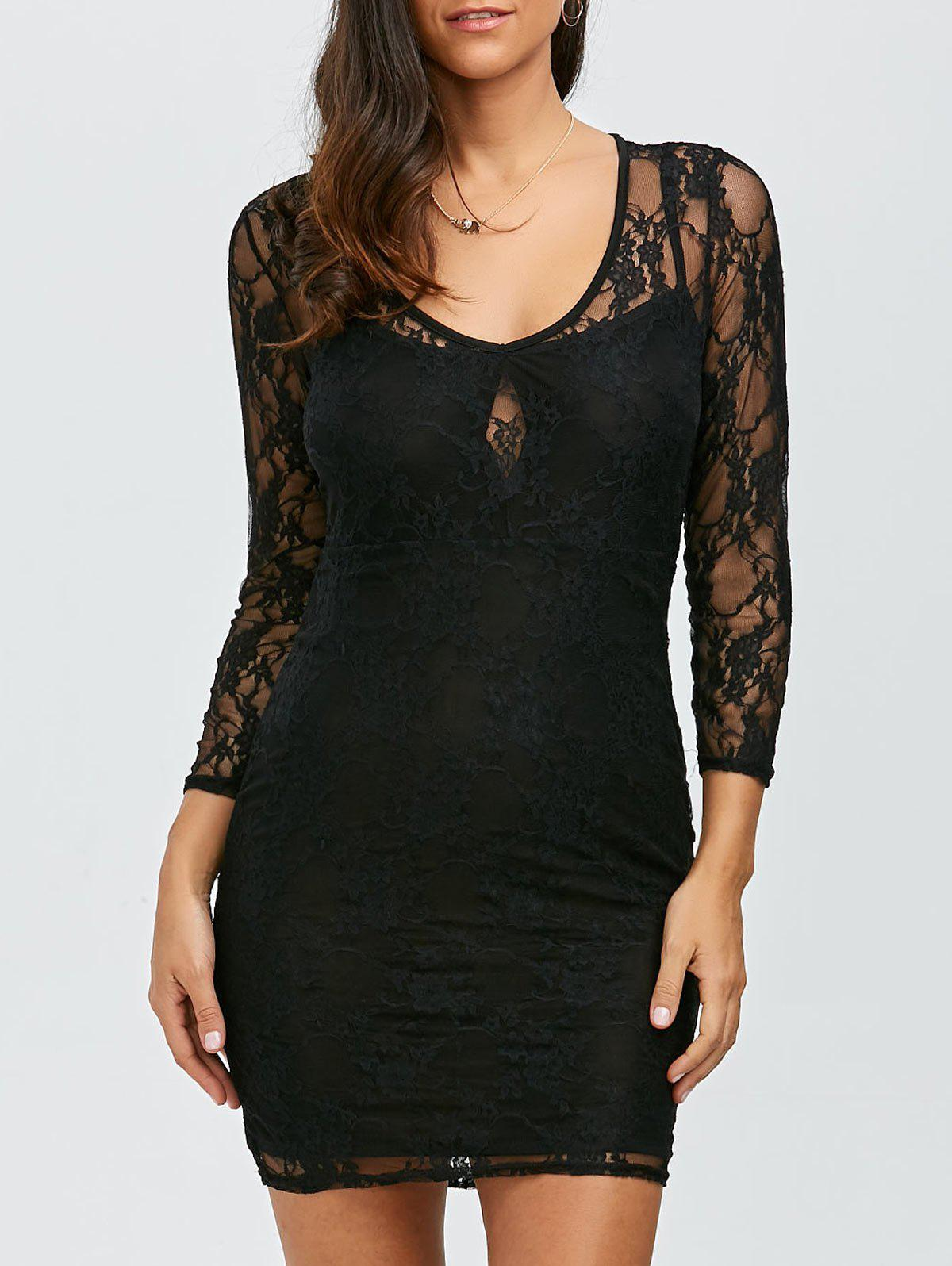 See Thru Mini robe en dentelle - Noir ONE SIZE(FIT SIZE XS TO M)