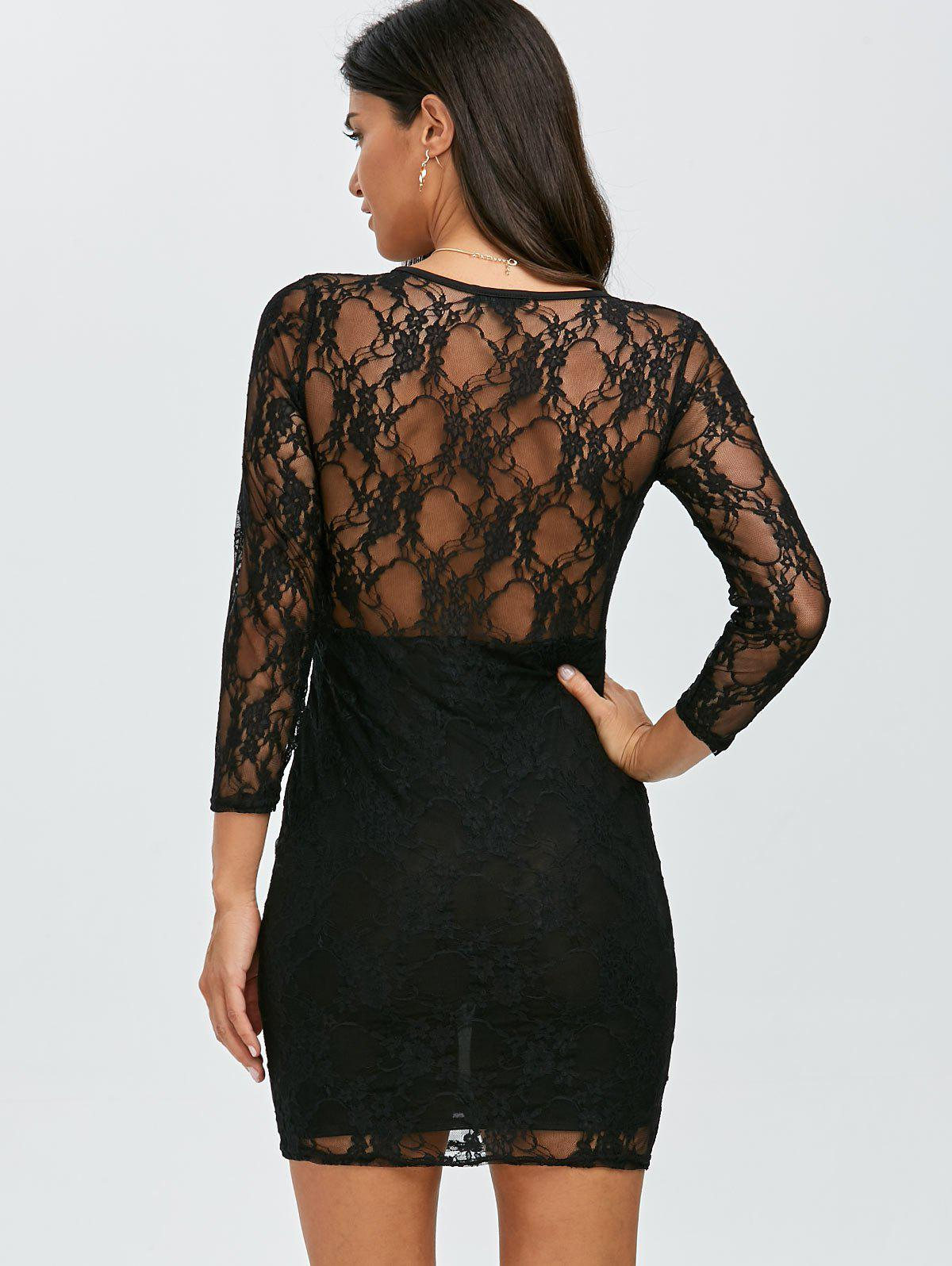 See Thru Mini Lace Dress - BLACK ONE SIZE(FIT SIZE XS TO M)