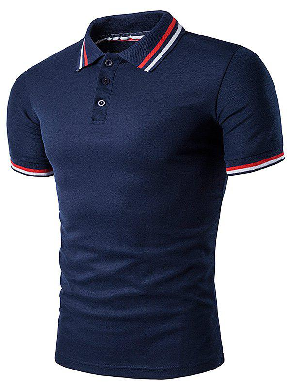 Striped Sleeve Collar Polo T-Shirt - CADETBLUE L