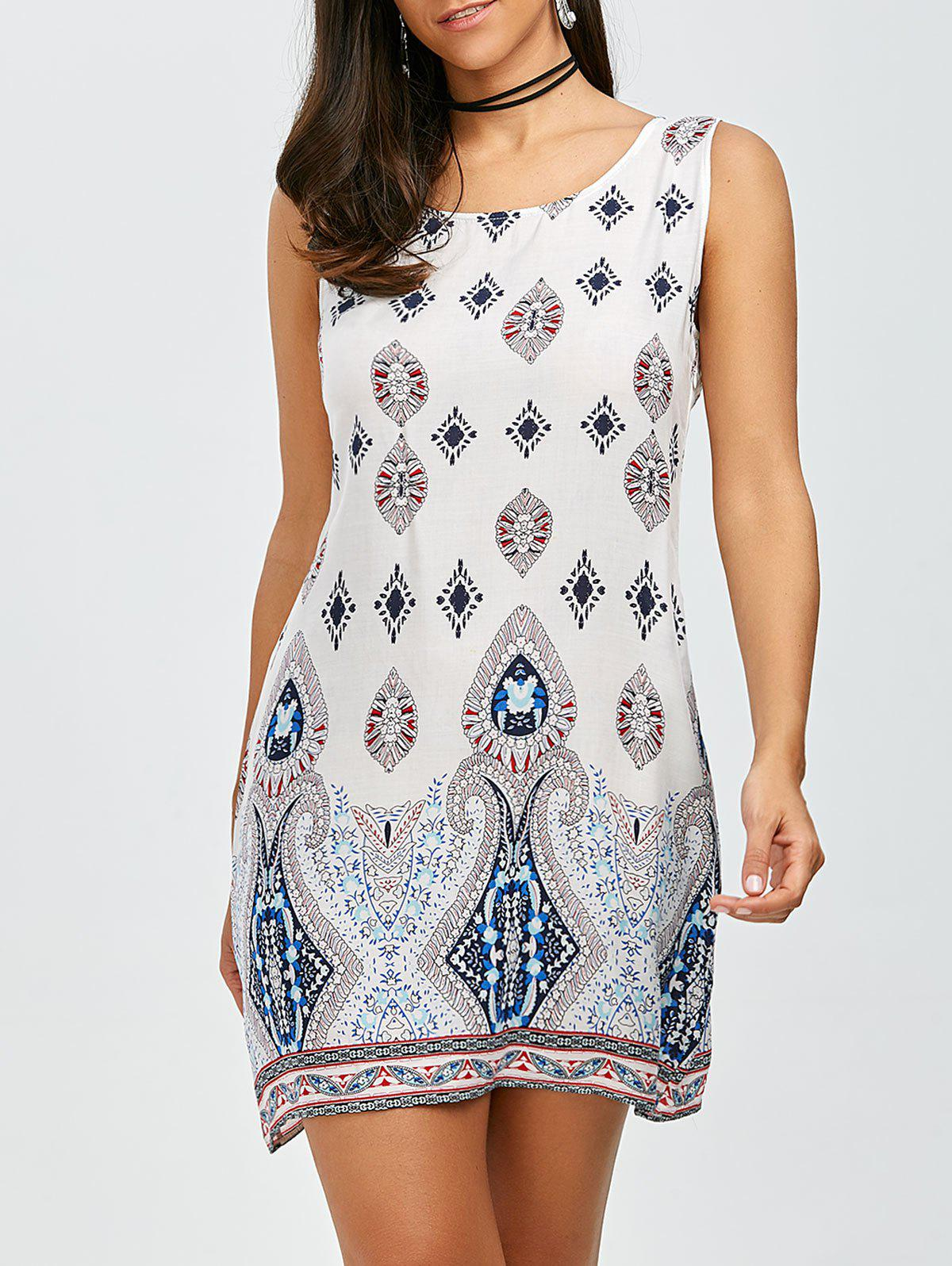 Bohemian Sleeveless Casual Shift Dress - WHITE M