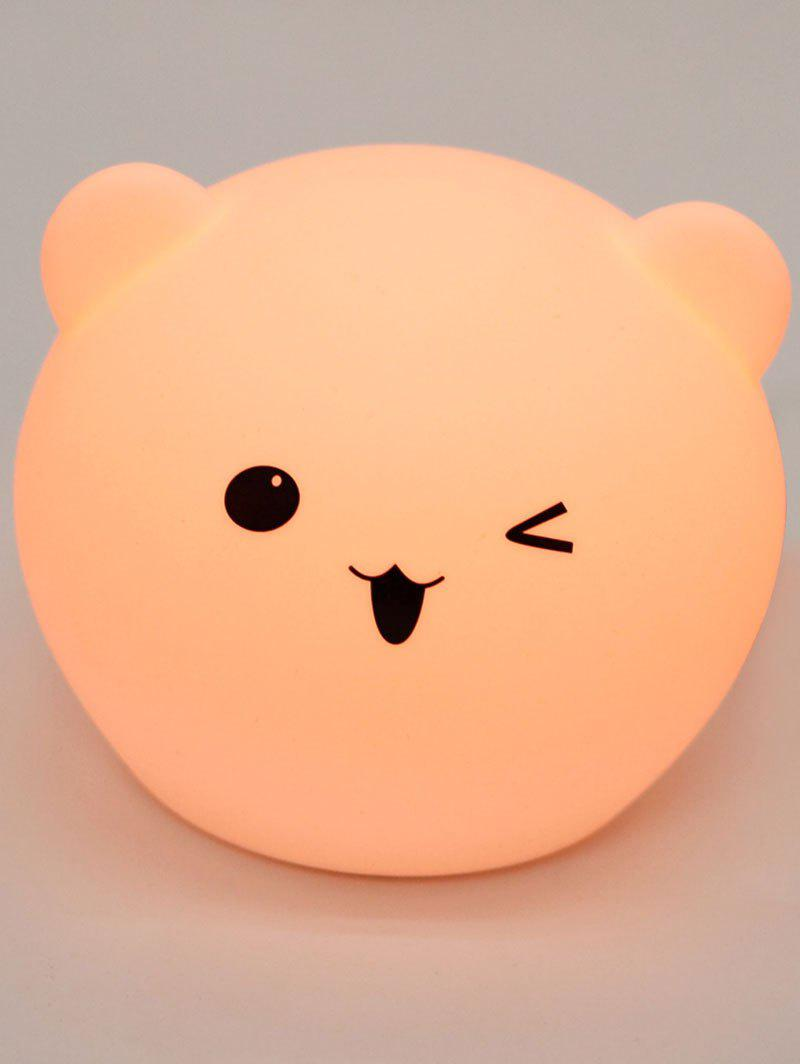 Cartoon Bear Shaped Touch Color Changing Night Light - WHITE