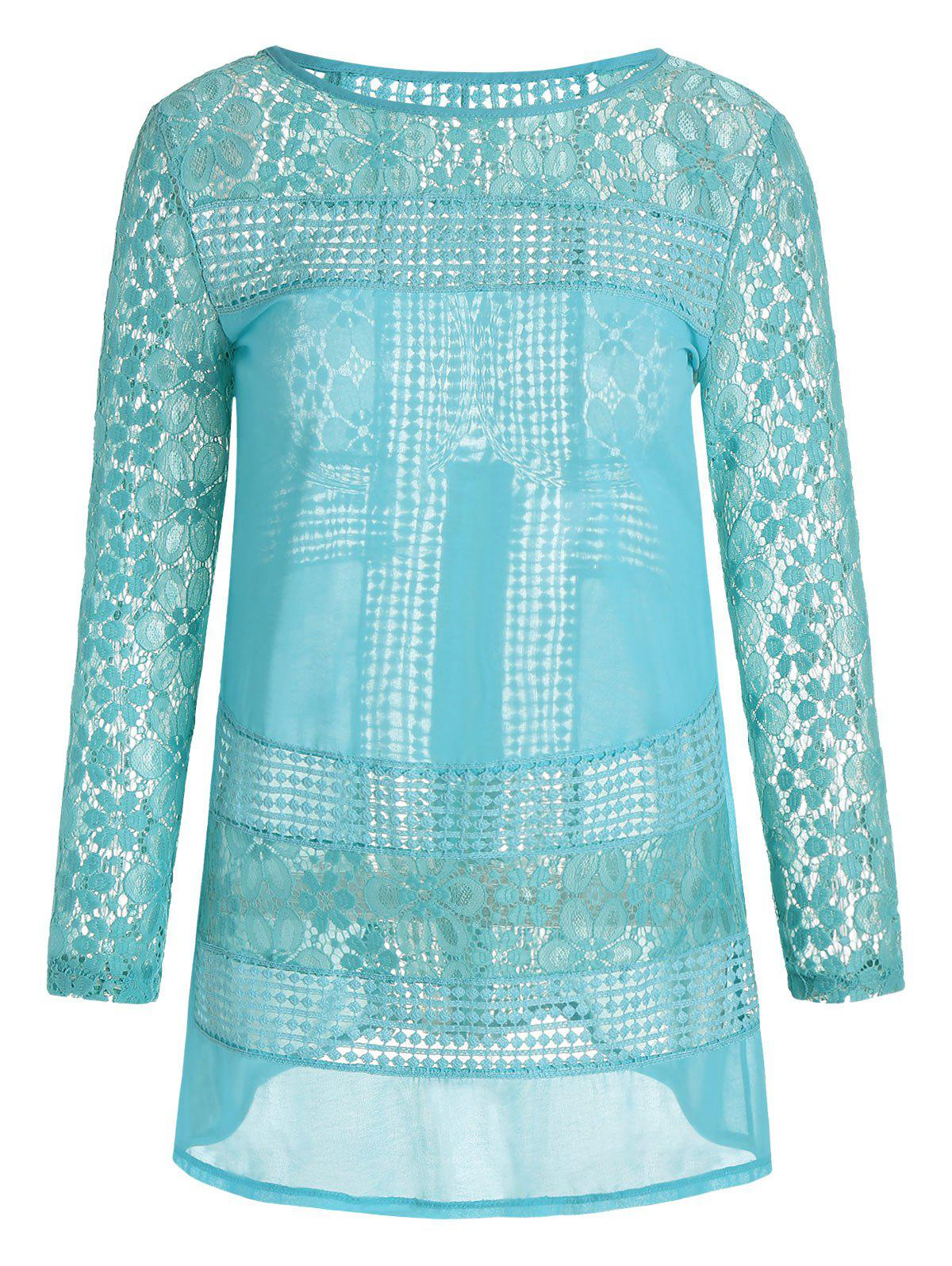 Long Sleeve Lace Mini Tunic Dress - BLUE GREEN L