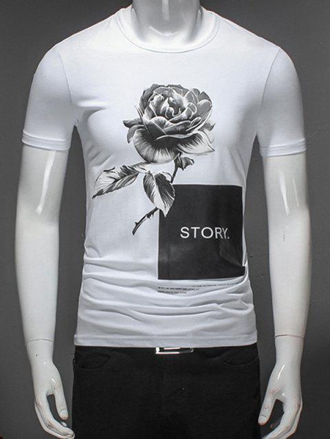 Floral Printed Graphic T-Shirt - WHITE XL