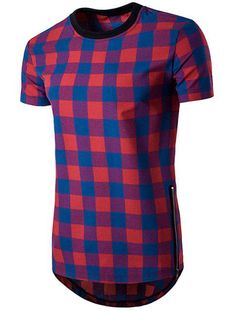 Side Zips Plaid Hem T-Shirt - BLUE S