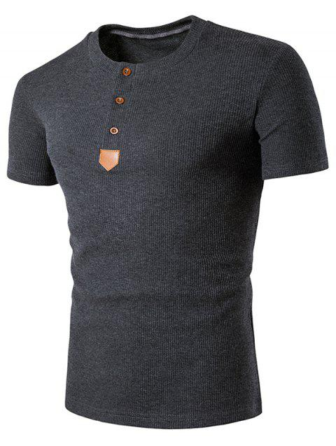 Faux Leather Patched Henley T-Shirt - DEEP GRAY 2XL
