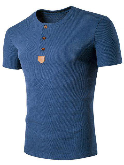 Faux Leather Patched Henley T-Shirt - BLUE 2XL