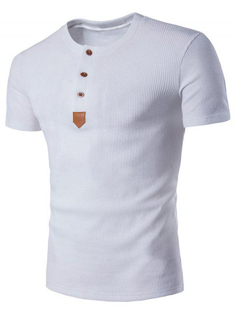Faux Leather Patched Henley T-Shirt - WHITE S