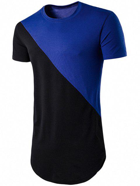 Color Block T-shirt de Hem géométrique - Bleu 2XL