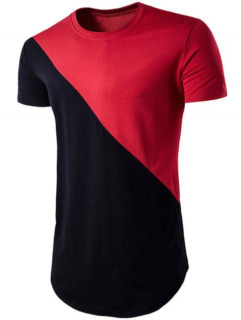 Color Block T-shirt de Hem géométrique - Rouge XL