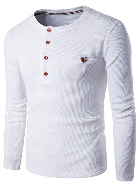 Henley T-shirt Faux manches longues Pocket - Blanc 2XL