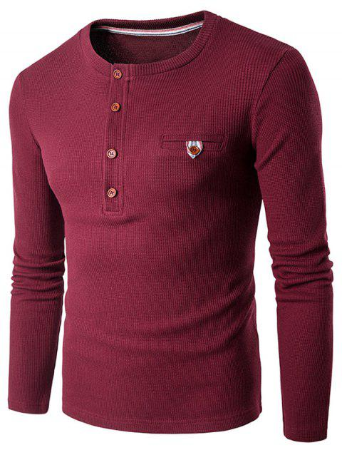 Fake Pocket Long Sleeve Henley T-Shirt - WINE RED S