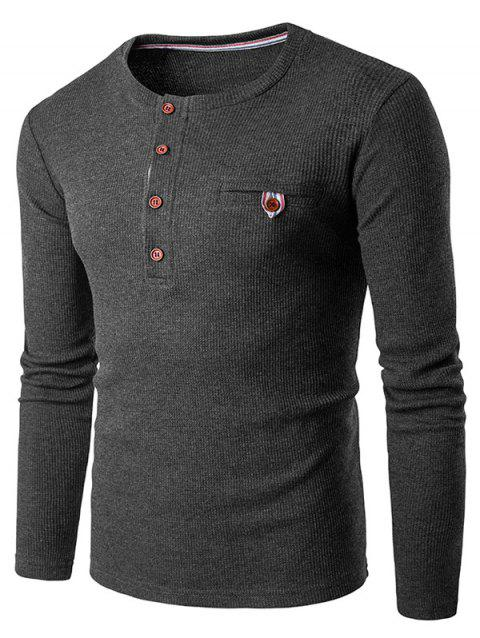 Fake Pocket Long Sleeve Henley T-Shirt - DEEP GRAY S