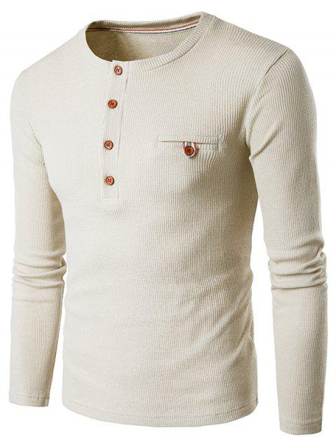 Fake Pocket Long Sleeve Henley T-Shirt - BEIGE L