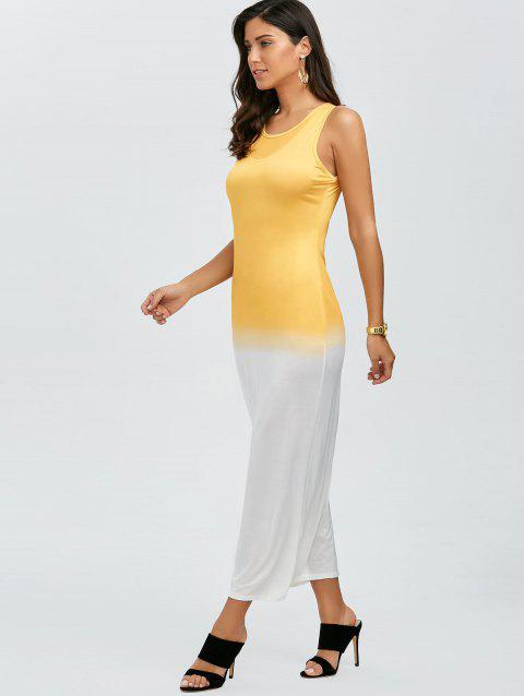 Color Block Sleeveless Maxi Dress - YELLOW M
