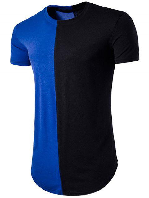 Color Block Crew Neck Hem T-Shirt - BLUE L