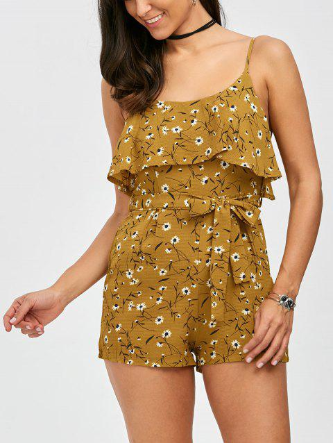 Flounce Belted Tiny Floral Print Romper - YELLOW XL