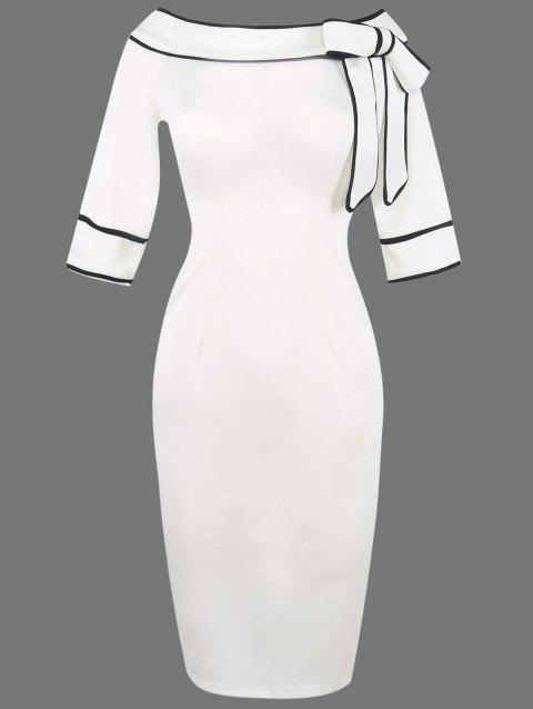 Boat Neck Bowknot Embellished Pencli Dress - WHITE S
