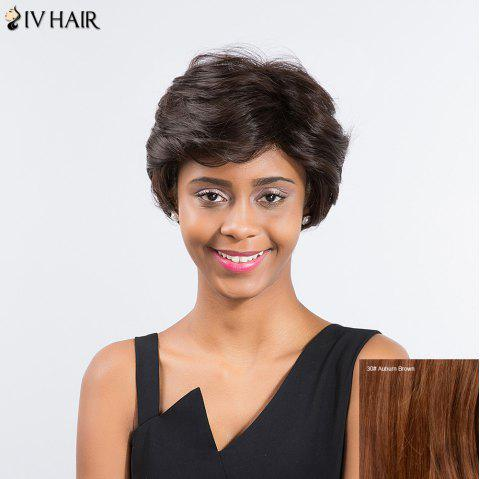Siv Hair Short Layered Cut Sided Part Capless Human Hair Wig - AUBURN BROWN 30
