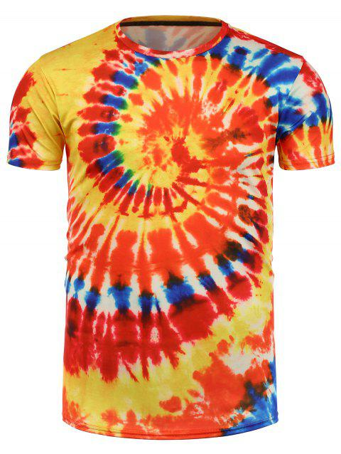 T-shirt à Imprimé Tie-Dye - Orange 3XL