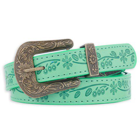 Faux Leather Floral Embossed Pin Buckle Belt - GREEN