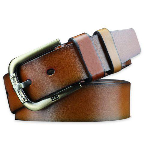 Vintage Pin Buckle Faux Leather Belt - BROWN