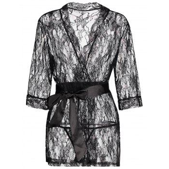 Lace See Thru Wrap Sleep Robe - BLACK BLACK