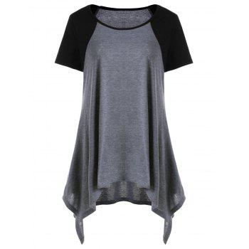 Raglan Sleeve Asymmetric T-Shirt