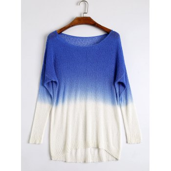 High Low Drop Shoulder Ombre Knitwear