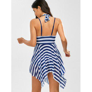 Stripe Handkerchief One Piece Swimwear - BLUE XL