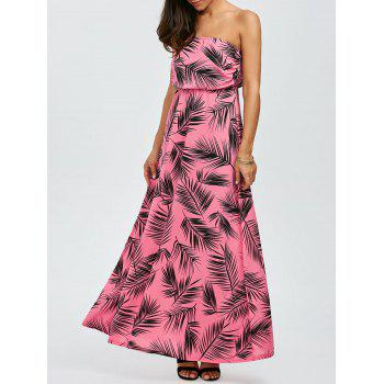 Maxi Strapless Leaves Print Summer Beach Dress