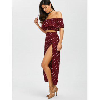 Polka Dot Split Skirt+Flounce Crop Top - DARK RED S